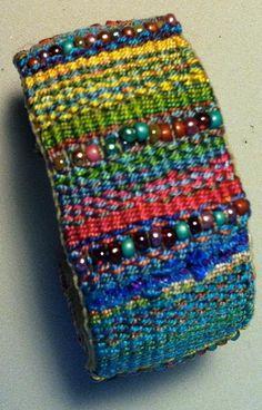 Woven/Bead Cuff via Craftsy Fiber Art Jewelry, Textile Jewelry, Fabric Jewelry, Jewellery, Inkle Loom, Loom Weaving, Bead Loom Bracelets, Woven Bracelets, Weaving Textiles