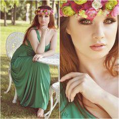 Fairy summer look long green dress