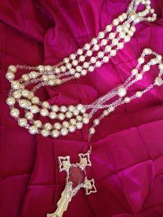 $94 Swarovski crystal Pearls wedding lasso silver  plated  cream color/ lazo de bodas en Perlas de crystal cremita