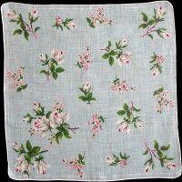 Gray Roses on Light Blue Irish Linen Vintage Handkerchief