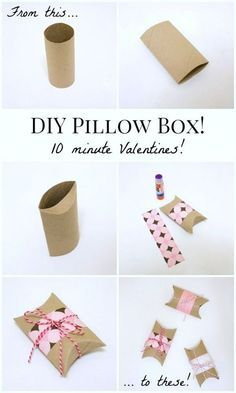 DIY Gift Wrapping Ideas DIY Valentines Pillow Boxes: Turn an empty toilet paper tube into a Valentine pillow box in under ten minutes! Valentines Bricolage, Valentines Diy, Valentine Pillow, Diy And Crafts, Crafts For Kids, Paper Crafts, Diy Valentine's Pillows, Craft Projects, Projects To Try