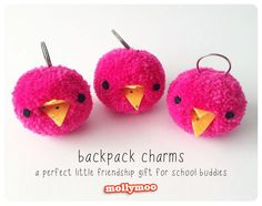 More Pom Pom Backpack Charms for Miss7's school buddies - the perfect little friendship gift | MollyMoo
