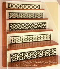 Introducing the new and absolutely divine 'Black & White Collection' of stair riser art by Tribute Designs on Etsy. Dress up your stairs for less than you might think. Stop by www.tributedesigns.etsy.com today to see the latest shop offerings. Custom sizes, colors, and patterns are always available...