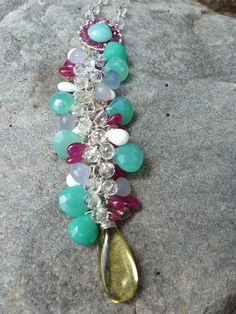 Ruby, Chrysoprase, Citrine Chalcedony and Rock Crystal Sterling Silver Necklace by LaLeLuxe