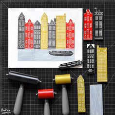 Andrea Lauren (@inkprintrepeat) | Carving and printing Amsterdam row houses this morning using up some left over strips. | Intagme - The Best Instagram Widget