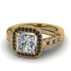 Black And White Diamond Ring Yellow Gold