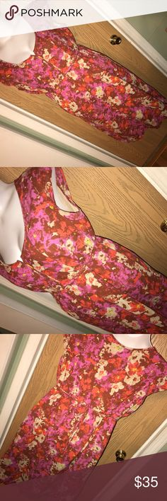 """Floral Eddie Bauer dress Pretty floral print Eddie Bauer dress with tie around the back. Great used condition. 25"""" from armpit to armpit, 34"""" from armpit to hem. Eddie Bauer Dresses Midi"""