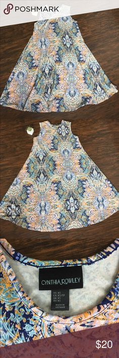 Cynthia Rowley A-line dress Super comfy A-line knee length dress! Beautiful multicolor print would look great with boots and denim jacket this fall. Cynthia Rowley Dresses