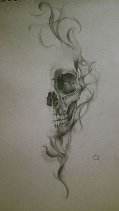Skull with smoke effect    realistic drawing by Eline Groeneveld More