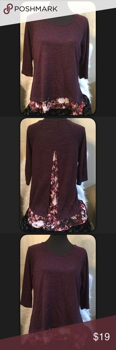 🆕Hi Lo Overlay Top by New York & Co. Cute top by New York & Company. 3/4 length sleeves pretty wine color knit top over an attached geometric water color print. Fun flowy top. GUC. Size Medium. Love the back of the top. New York & Company Tops Blouses