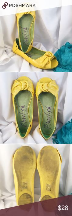 BLOWFISH Malibu Yellow Bow Flats Pre loved. Adorable bow flats in the happiest yellow. Believe these are man made leather. They have a textured patent look. Very comfy too! Blowfish Shoes Flats & Loafers