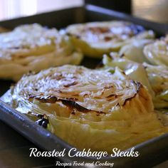 Thick cut cabbage slices steamed in the oven and then roasted to finish.