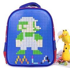 Pixel Backpack DIY Unique Schoolbag Puzzle Bag Children Back to School Backpack