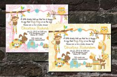 Jungle Baby Shower Birthday Invitations Lion Owl Giraffe Monkey Personalized in Home & Garden, Greeting Cards & Party Supply, Greeting Cards & Invitations | eBay