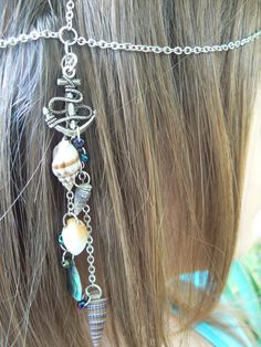 beach anchor head chain ablone mermaid head piece halo anchor abalone shells in belly dance boho gypsy hippie beach and hipster style