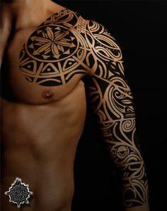 Tribal sleeve - 35 Awesome Maori Tattoo Designs