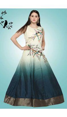 41192c9f436dc Cream And Blue Banglori Silk Gown - DMV14955 Mehndi Dresses 2017