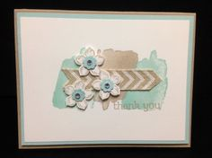 Such a soft, pretty thank you card! Peite Petals and Happy Watercolor