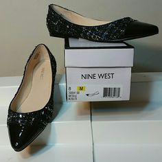 Nine West Solile flat Sophisticated fabrics mean sophisticated style! The Solile cap toe flat from Nine West is the ideal office look that will keep you low to the ground while giving your style some serious elevation!  ?  Mixed material upper with sparkle details Faux patent leather  almond cap toe Synthetic sole  Colors : Black, Blue and Silver  Imported Nine West Shoes Flats & Loafers