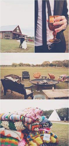 Outdoor fire pit and warm blankets #fallwedding #autumnwedding #weddingideas #outdoorwedding #reception