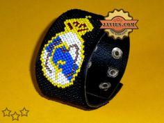 Pulsera Real Madrid con mostacillas / Real Madrid handmade bracelet