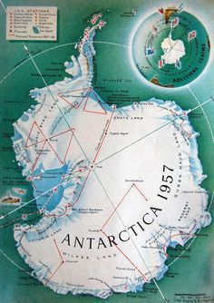 Map of Antarctica by R. M. Chapin | Map of Antarctica by R. M. Chapin in Time magazine AP2 .T37 v.68 pt.2 December 31, 1956