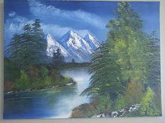 Mountain and lake - Bob Ross Video training. Bob Ross Painting Videos, Bob Ross Paintings, Easy Paintings, Beautiful Paintings, Landscape Paintings, Acrylic Paintings, Landscapes, Oil Painting Lessons, Oil Painting Pictures
