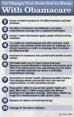 10 THINGS YOU NOW GET TO KEEP WITH OBAMACARE.