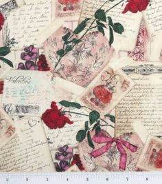 Holiday Inspirations Valentine's Fabric-Vintage Valentine, , hi-res