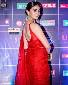 Alia Bhatt rocks the red Sabyasachi saree like a pro as she wins big at REEL Awards 2019 - HungryBoo WhatsApp us for Purchase & Inquiry : Buy Best Designer Collection from padukon Red Saree, Saree Look, Indian Dresses, Indian Outfits, Indian Clothes, Sabyasachi Sarees, Lehenga Blouse, Bollywood Saree, Indian Sarees