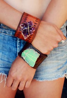 ☮ ßohemian ßabe | leather + stone cuffs by LuxDivine