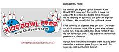 KIDS BOWL FREE:  All Summer Long!