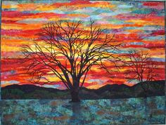 """Colors of Winter Original Wall hanging by Lenore Crawford; {{great inspiration for a beautiful """"hooked"""" sky & landscape}}!!"""