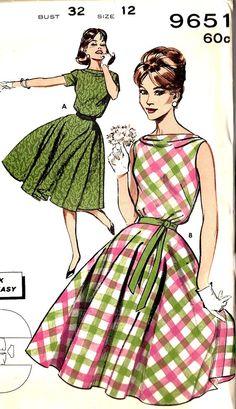 1960s Misses Circle Skirt Dress