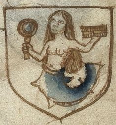 «Mermaid with mirror» The Book of the Ordre of Chyvalry, c. 1494, Harley 6149, f. 30, The British Library. http://www.bl.uk/catalogues/illuminatedmanuscripts/ILLUMIN.ASP?Size=mid&IllID=39637