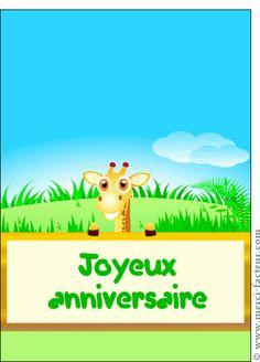 Carte Joyeux anniversaire dr�le de girafe pour envoyer par La Poste, sur Merci-Facteur !