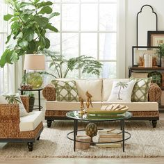 Get inspired by Coastal Living Room Design photo by Wayfair. Wayfair lets you find the designer products in the photo and get ideas from thousands of other Coastal Living Room Design photos. My Living Room, Home And Living, Living Room Decor, Living Spaces, Tropical Home Decor, Tropical Interior, Tropical Living Rooms, Coastal Living, Tropical Rugs
