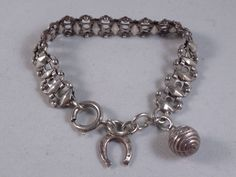 ANTIQUE FRENCH STERLING SILVER CHARM BRACELET WITH BALL FOB & HORSESHOE (2)