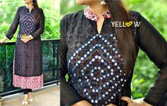 Full sleeve Long rayon printed Kurti with georgette overlay embroidered with mirrors . Size - L XL XXL Price - 1899 INR Kindly write to us to teamyellow@yellowkurti.com or private message us here on Facebook for assistance / Orders ! 24 July 2016