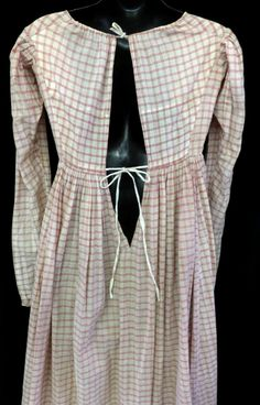 X RARE ANTIQUE 1810 REGENCY EMPIRE RED CHECK COTTON GOWN DAY DRESS FAB CONDITION | eBay!