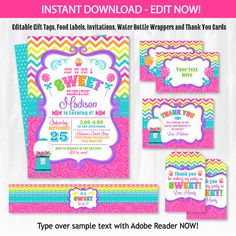 Candyland Invitation and Candyland Party Supplies- Sweet Shop Party Pack - DIY INSTANT DOWNLOAD- NO WAITING!! Start RIGHT NOW and just type over the sample text (see whats editable below). Please read through entire description before purchasing this item: WHATS INCLUDED IN THE PURCHASE