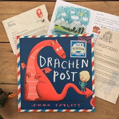"""Drachenpost - A picture book with 5 real letters - """"Drachenpost"""" by Emma Yarlett, published by Thienemann Verlag, is a picture book for childre - Korean Stationery, Cute Stationery, Presents For Kids, Children's Picture Books, Red Dragon, Cute Korean, I School, Kids And Parenting, Childrens Books"""