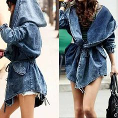Inspiration - Denim Hoodie Trench Amo Jeans, Estilo Jeans, Love Jeans, Jeans Style, Hipster Fashion, Denim Fashion, Love Fashion, Fashion Design, Fashion Trends