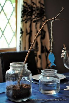 use fall cutouts to hang on limb- moss around jar and little pumpkins ~ banquet table deco
