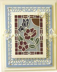 Hi crafters! Today& card giveaway is a Stained Glass creation. I do apologise profusely that my pictures do not capture the true sp. Glass Butterfly, Butterfly Cards, Flower Cards, Card Making Inspiration, Making Ideas, Sue Wilson Dies, Spellbinders Cards, Card Companies, Die Cut Cards