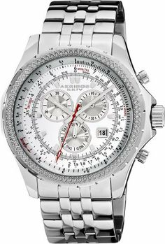 Akribos XXIV Men's AK517WT Large Chronograph Bracelet Watch Akribos XXIV. $131.25. Date displayed at the 4:30 position. Water-resistant to 10 M (33 feet). Crystal filled bezel; precise japanese quartz movement. Silver-tone stainless steel bracelet is secured with a butterfly clasp. Precise swiss quartz isa 8172/220 movement. Save 79%!