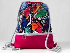 BAG BACKPACK drawstring sack pink butterflies raspberry unique urban romantic WORKOPLECAK worek plecak różowy w motyle miejski romantyczny Pink Butterfly, Butterflies, Drawstring Bags, Backpack Bags, Bag Making, Raspberry, Handmade Items, Vogue, Polish