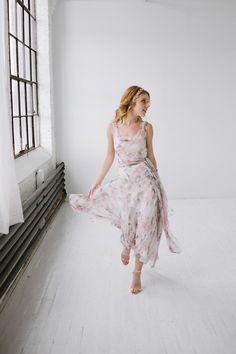 Topshop Bride silk floral midi dress