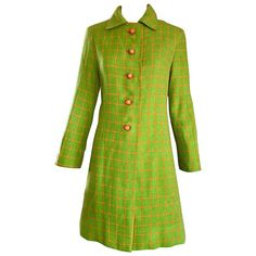 1960s Neon Lime Green and Orange Checkered Vintage 60s Wool Swing Jacket Coat | From a collection of rare vintage jackets at https://www.1stdibs.com/fashion/clothing/jackets/