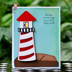 """DT Melissa """"Sweet Summertime Co-blog hop"""" with Trendy Twine/SVG Attic used Totally Red Trendy Twine around the bottom half of the lighthouse."""